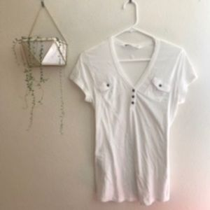 Athleta White 2 Pocket Tee Shirt